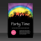 Flyer or Cover Design - Party Time. Colorful Party People Flyer or Cover Design with Palms and Rainbow Background in Freely Scalable & Editable Vector Format Royalty Free Stock Photos