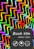 Flyer cover with rainbow waves. Book cover, leaflet, poster, flyer cover with rainbow waves on black background, abstract brochure cover template, vector EPS 10 stock illustration