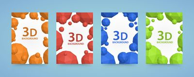 Flyer 3d balls polygons cover color art. Stock Image