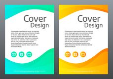 Flyer design. Bright gradient waves on white background. Cover template with color lines. Creative composition. Trendy. Vector illustration royalty free illustration