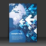 Flyer Design - Business. Blue business Flyer Design with arrows and globe Stock Illustration
