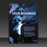 Flyer Design - Business. Blue Business Flyer Design with arrows and globe Royalty Free Illustration