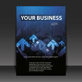 Flyer Design - Business. Blue Business Flyer Design with arrows Stock Photo