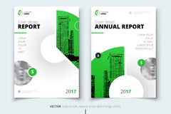 Flyer design. Corporate business report cover, brochure or flyer. Design. Leaflet presentation. Teal Flyer with abstract circle, round shapes background. Modern Stock Photo