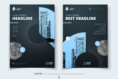Flyer design. Corporate business report cover, brochure or flyer. Design. Leaflet presentation. Teal Flyer with abstract circle, round shapes background. Modern Stock Images
