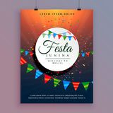 Flyer design for festa junina celebration event design. Vector Stock Photography