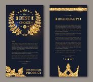 Flyer design layout template gold laurel wreath Royalty Free Stock Photography