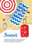 Flyer design with red travel bag. Summer vacation flyer design with top view of parasol and beach mat with accessories on sand and red travel bag Stock Image