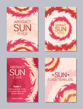 Flyer design. Sun theme. Set of four flyers with sun theme. Flaming circles. Stylized suns. Abstract background. Vector illustration Stock Photo