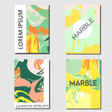 Flyer design template. Abstract background with marbling shapes. Fashionable banner, invitation, advertisement, cover Stock Images