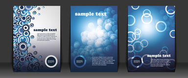 Flyer Designs. Blue Flyer Designs with bubbles Royalty Free Stock Photo