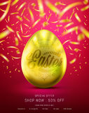 Flyer of Eggs in Gold Color for Easter Day Banner or Brochure. With Realistic Shine Gold Light and Beautiful Backdrop on the Red background and Golden Confetti Stock Images