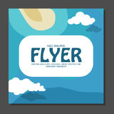 Flyer in flat style with a map of the island to travel and vacation on yacht  clouds in the sky. View from the birds flight. Vecto Royalty Free Stock Photography