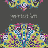 Flyer with Floral mandala pattern and ornaments. Oriental design layout template,. Vector Royalty Free Stock Photography