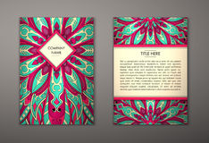 Flyer with Floral mandala pattern Stock Photos