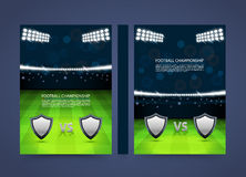 Flyer Football championship banner book. Cover match A4 size paper, Template design element, Vector background Stock Image