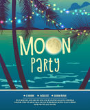 Flyer for the full moon party. Flyer for the lunar party. Night disco. Vector template full moon dancing. Silhouettes of palm trees, sea, lights, fullmoon Royalty Free Stock Images