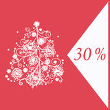 Flyer for gifts with decorative christmas tree. Flyer for Christmas gifts with decorative christmas tree and sale sign on red and white backgrounds Stock Illustration