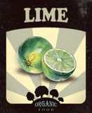 Flyer with green limes drawn by hand with colored pencil Royalty Free Stock Images