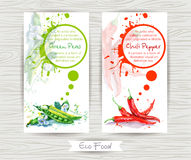 Flyer with green pea and chili pepper. Watercolor illustration. Royalty Free Stock Photo