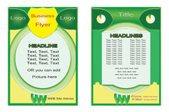 Flyer Green Yellow design. Poster design. Brochure. Layout. Report. Banner template Royalty Free Stock Photos