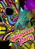 Flyer on Halloween party with Decorate Skull painted ornament Stock Image