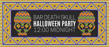 Flyer for a holiday with the inscription HALLOWEEN PARTY, BAR DEATH SKULL, MIDNIGHT.  Royalty Free Stock Photo