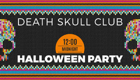 Flyer for a holiday with the inscription HALLOWEEN PARTY, CLUB DEATH SKULL, MIDNIGHT. Royalty Free Stock Photo