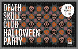 Flyer for a holiday with the inscription HALLOWEEN PARTY, CLUB DEATH SKULL, MIDNIGHT Royalty Free Stock Photo