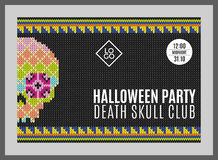 Flyer for a holiday with the inscription HALLOWEEN PARTY, CLUB DEATH SKULL, MIDNIGHT. Brown skull on a dark green Stock Images