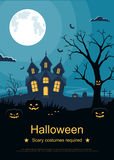 Flyer or invitation card template for Halloween party. Halloween background with pumpkins and scary castle on graveyard. Royalty Free Stock Image