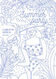 Flyer, invitation or poster template for summer party with smiling women in swimwear holding fresh tropical drinks drawn. With contour lines on white background Royalty Free Stock Photos