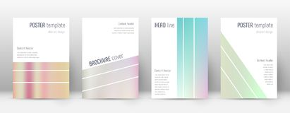 Flyer layout. Geometric pretty template for Brochure, Annual Report, Magazine, Poster, Corporate Presentation, Portfolio, Flyer. Alluring pastel hologram cover Royalty Free Stock Images