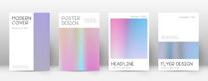 Flyer layout. Minimal tempting template for Brochure, Annual Report, Magazine, Poster, Corporate Presentation, Portfolio, Flyer. Appealing pastel hologram Royalty Free Stock Images