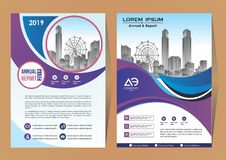 Flyer Layout, Poster, Magazine, Annual Report, Book, Booklet with Building Image. Magazine catalog for annual report cover brochure flyer for business royalty free illustration