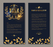 Flyer layout template with golden laurel wreath Royalty Free Stock Image