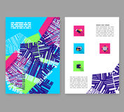 Flyer, leaflet, booklet layout. Editable design template A4. Flyer, leaflet, booklet layout. Editable design template. A4 2-fold brochure with abstract elements Stock Photography