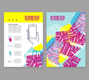 Flyer, leaflet, booklet layout. Editable design template A4 Royalty Free Stock Photo
