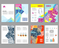 Flyer, leaflet, booklet layout set. Editable design template. A4 Stock Photo