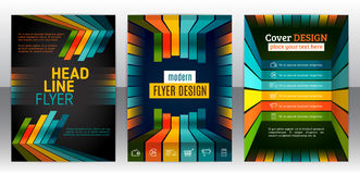 Flyer with lines, stripes motion and dynamics. Abstract stripes vector brochure template. Flyer with lines, stripes motion and dynamics. Cover layout with flat Royalty Free Stock Photo