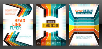 Flyer with lines, stripes motion and dynamics. Abstract stripes vector brochure template. Flyer with lines, stripes motion and dynamics. Cover layout with flat Stock Photo