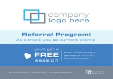 Flyer or Mailer for Business Referral Program. This flyer or mailer is great to promote your business by offering a referral discount to your clients. It can be Royalty Free Stock Image