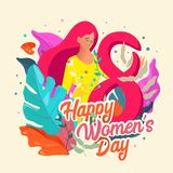 8 March. International Women`s Day. Happy women`s day postcard. Flyer for March 8 with the decor of flowers, exotic leaves. royalty free illustration