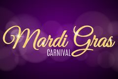 Flyer for Mardi Gras carnival. Gold glitter text with golden sparkles. Abstract bokeh lights. Gold particles shine. Vector. Illustration Stock Photos