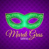 Flyer for Mardi Gras carnival. Green glitter mask with green sparkles. Seamless pattern from purple heraldic lily. Fleur de lis sy royalty free illustration