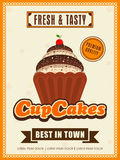 Flyer or menu card for cupcake corner. Stock Photography