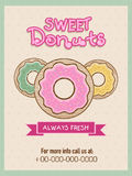 Flyer or menu card for sweet donuts shop. Royalty Free Stock Photo