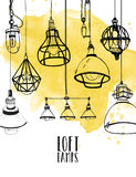 Flyer with modern edison loft lamps, vintage, retro style light bulbs. Hand drawn vector background Royalty Free Stock Image