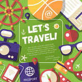 Flyer with modern flat design travel, vacation Stock Photo