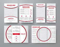 A4 flyer and a narrow flyer with red design elements and a round Stock Photography